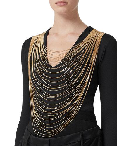 Chiers Golden Chain-Neck Jersey Bodysuit