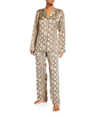Python-Pattern Silk Pajama Set