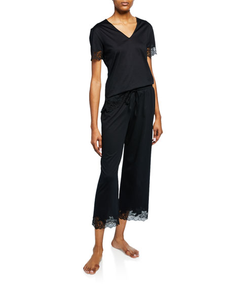 Image 1 of 1: Fleur Lace-Trim Cropped Pajama Set