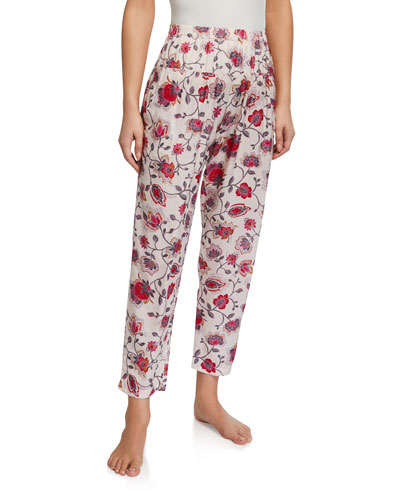 Peyton Floral-Print High-Waist Lounge Pants