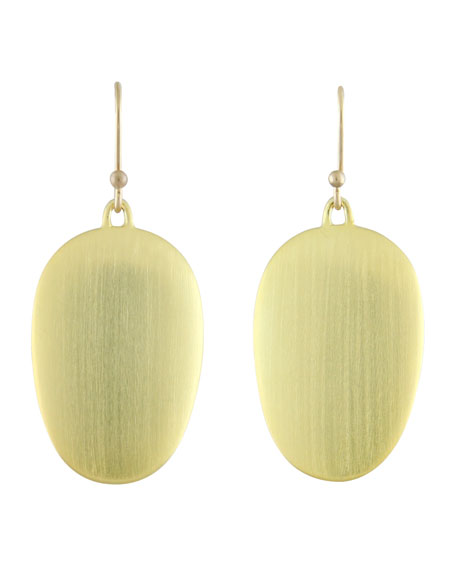Large Brushed Green Gold Chip Earrings