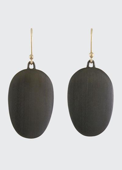 Large Brushed Gunmetal Chip Earrings