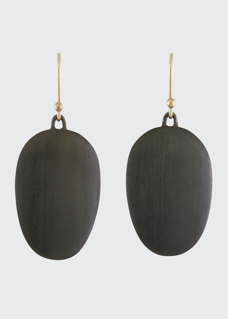 Large Brushed Gunmetal Chip Earrings