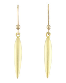 Ted Muehling Small Brushed Green Gold Rice Earrings
