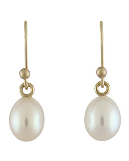 Ted Muehling Small White Pearl Earrings
