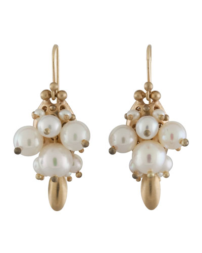 White Pearl Bug Earrings