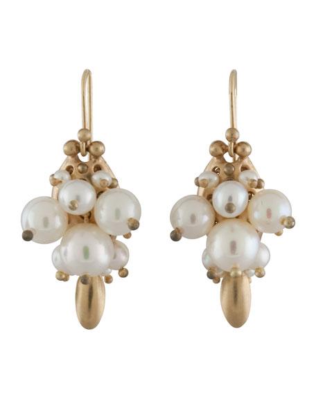 White Pearl Bug Earrings