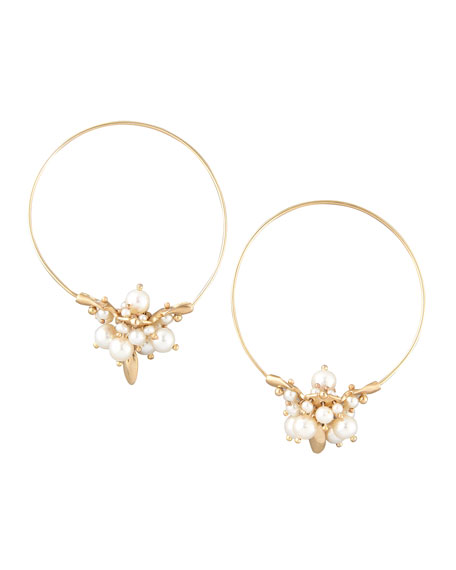 Pearl Cluster Hoop Earrings