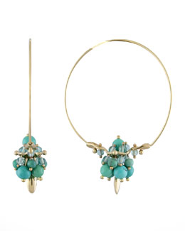 Ted Muehling Chinese Turquoise Hoop Earrings
