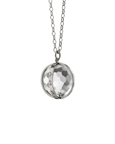 "Extra Large Silver Carpe Diem Pendant Necklace, 30""L"