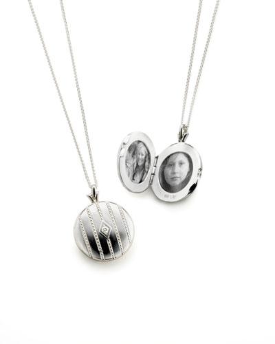 Pave Diamond Silver Round Locket Necklace