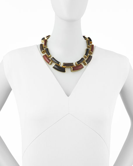 "Curved Wood Link Necklace, 20""L"