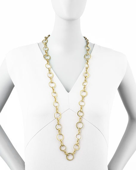 """Mini Green Gold Links Necklace, 38""""L"""