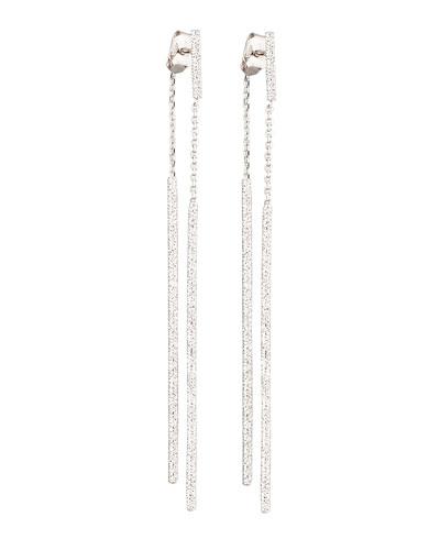 Gitane 18k White Gold Double Stick Earrings