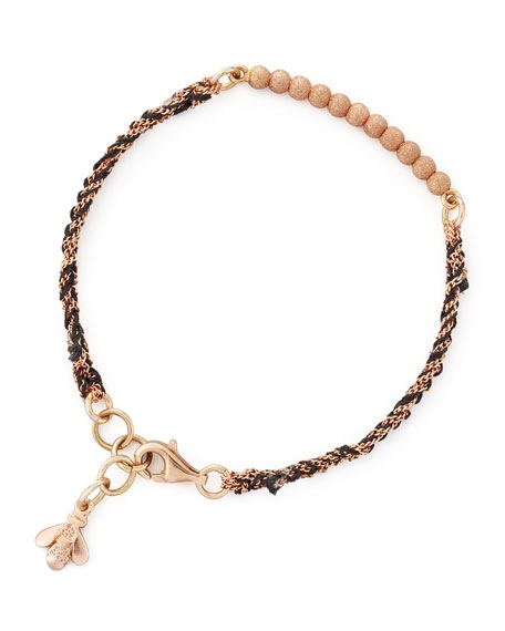 Lei Zu Pink Gold Sparkly Woven Bracelet, Black