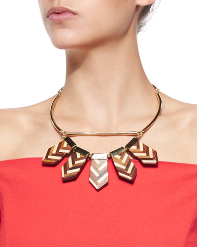 Mixed Chevron Wooden Choker Necklace