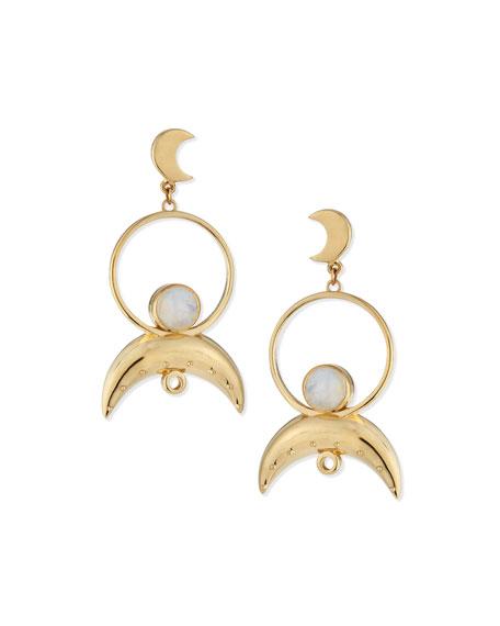 Cosmos Moonstone Drop Earrings