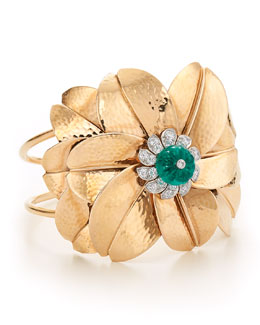 Contemporary Hammered Rose Gold Emerald Bead and Diamond Flower Cuff Bracelet