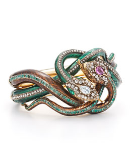 Estate 19th Century Enamel Diamond, Ruby and Emerald Coiled Snake Bracelet