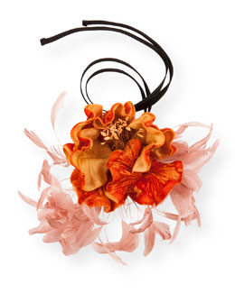 Flower & Feather Necklace, Orange/Pink