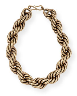 Brass Twist-Chain Choker Necklace