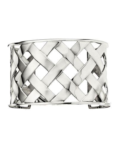 18K Palladium White Gold Crisscross Cuff Bracelet