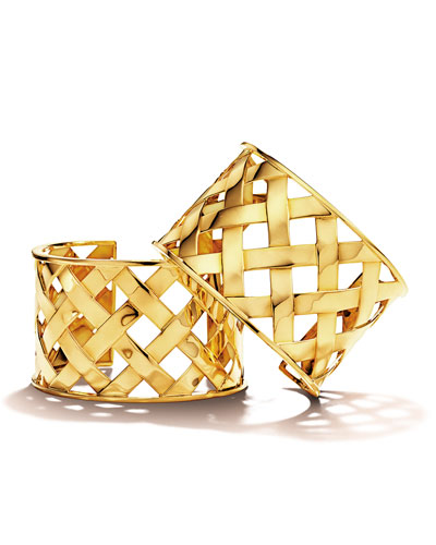 18K Yellow Gold Crisscross Cuff Bracelet