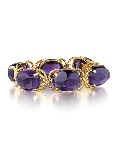 18K Yellow Gold Rope & Amethyst Pebble Bracelet