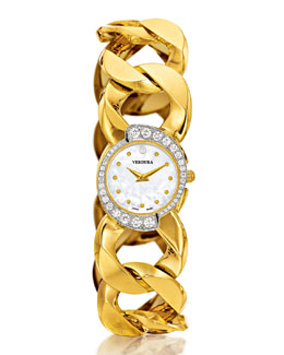 Yellow Gold Diamond-Bezel Mother-Of-Pearl Curb-Link Bracelet Watch