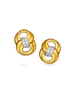 18K Gold & Diamond Figure Eight Clip Earrings