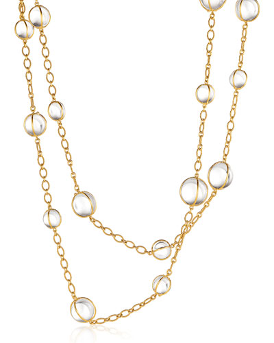 "Rock Crystal Bubbles Station Necklace, 42""L"