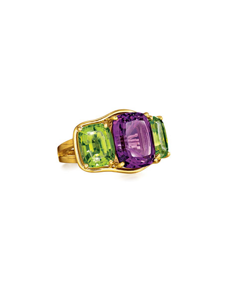 Cushion-Cut Amethyst & Peridot Ring, Size 6