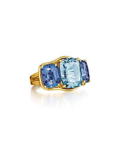 Cushion-Cut Aquamarine & Iolite Ring, Size 6