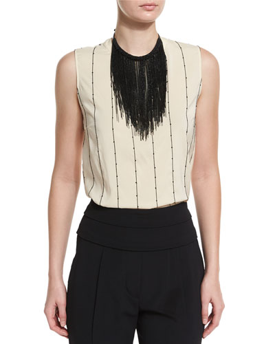 Monili Fringe Collar Necklace, Black