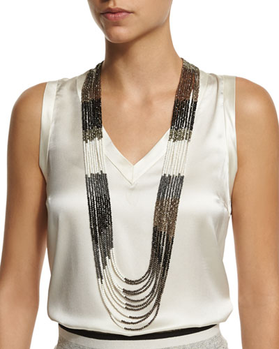 Multi-Strand Beaded Long Necklace, Black/Taupe/White