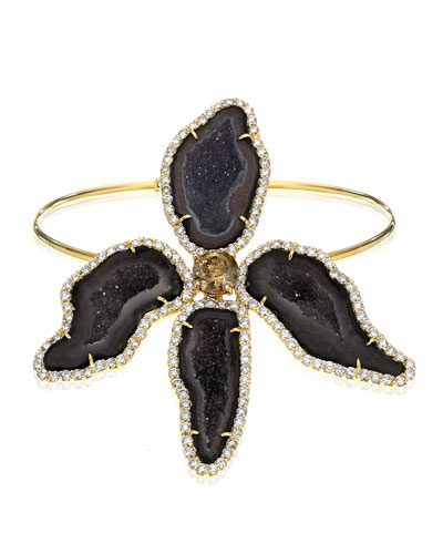 Dark Geode & Pavé Diamond Orchide Bracelet