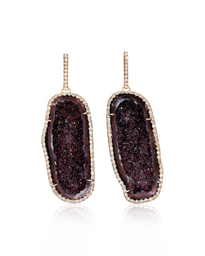 Pavé Diamond & Deep Red Geode Earrings