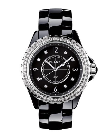 J12 Black 33MM Ceramic Watch with Diamonds