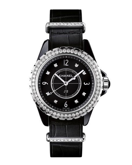 J12 Black 33MM Alligator Strap Watch with Diamonds
