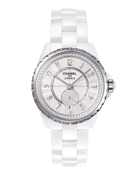 J12 White 36.5MM Ceramic Watch with Diamonds