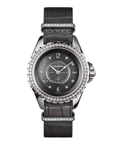 J12 Chromatic 33MM Alligator Strap Watch with Diamonds