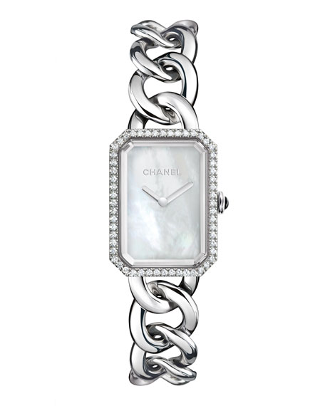 PREMIÈRE Steel Chain Watch with Diamonds, Large Size