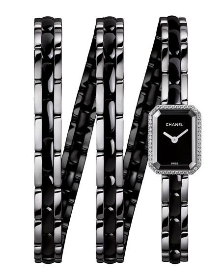 PREMIÈRE Black Ceramic Wrap Watch with Diamonds