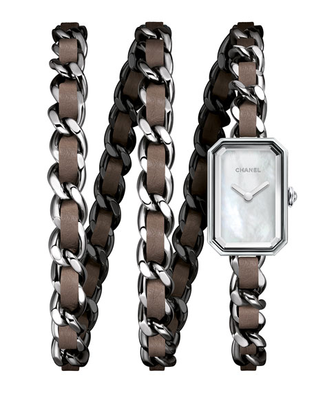 PREMIÈRE Steel & Taupe Leather Wrap Watch
