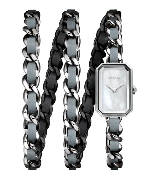 PREMIÈRE Steel & Blue Leather Wrap Watch