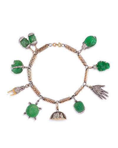 Estate Art Deco Vintage Carved Emerald Charm Bracelet with Diamonds
