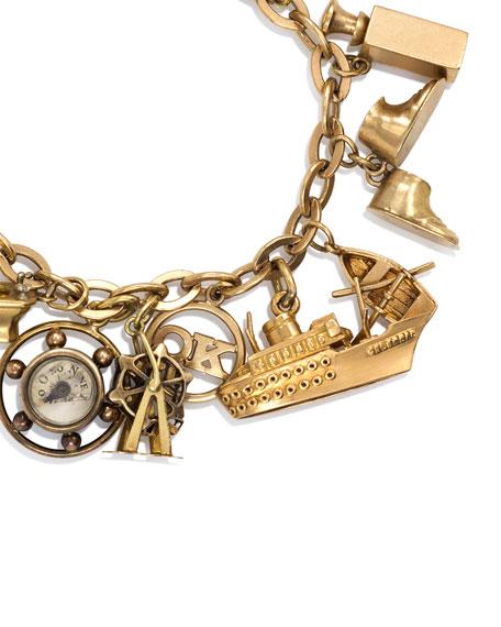Estate Retro 18K Gold French Charm Bracelet