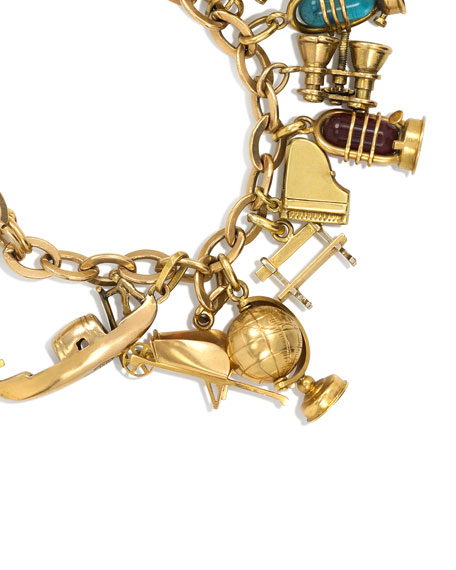 Estate Retro 18K Gold French Charm Bracelet