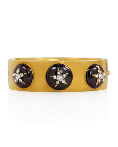 Estate Antique Garnet Cabochon & Diamond Star Cuff Bracelet