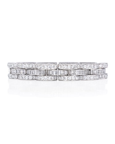 Estate Retro Diamond Tank Bracelet in Platinum